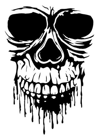 illustration grunge skull for tattoo or t-shirt design