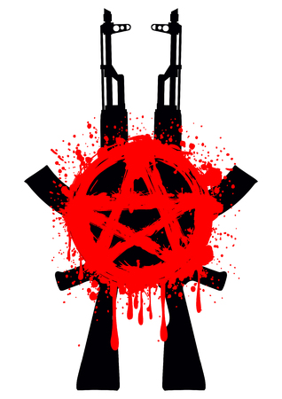 anarchy: illustration two Ak - 47 and symbol red star for design tattoo or t-shirt design Illustration