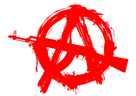 weapon: illustration symbol anarchy with Ak - 47 for design tattoo or t-shirt design Illustration