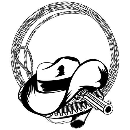 lasso: illustration cowboy hat lasso and revolver