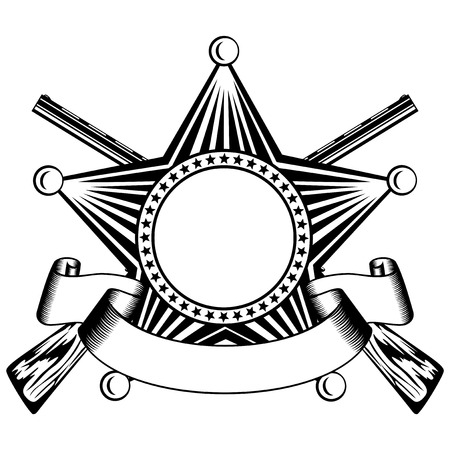 sheriffs: illustration five pointed sheriffs star and crossed shotguns