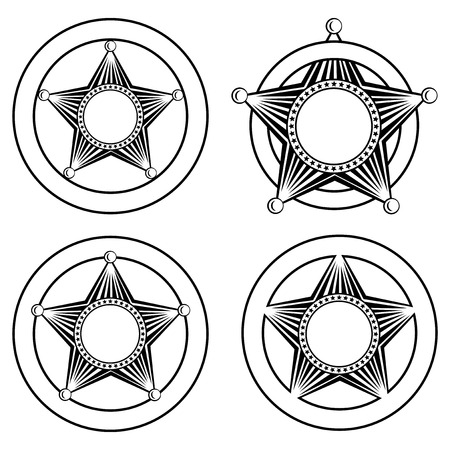 sheriffs: illustration five pointed sheriffs star in circle set