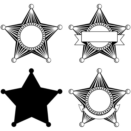sheriffs: illustration five pointed sheriffs star set