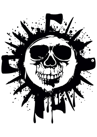 Vector illustration grunge white skull in frame with axe and knifes