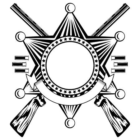 illustration six pointed sheriffs star and crossed shotguns