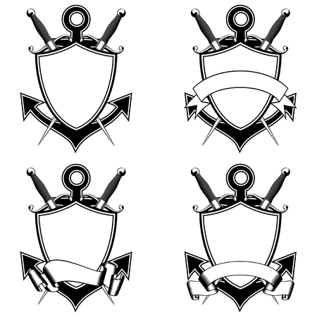 dirk: Vector illustration anchor, shield with ribbon and crossed marine daggers set. Illustration