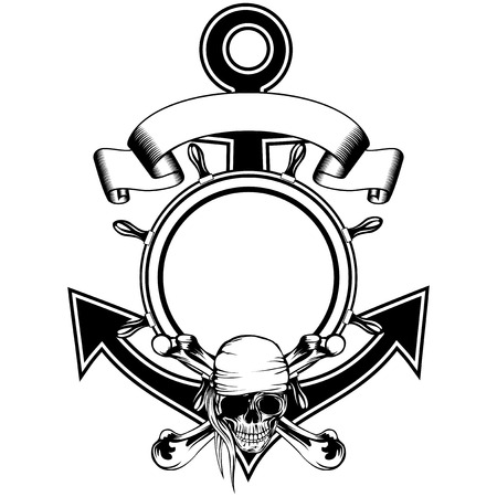 crossbone: Anchor and steering wheel framework and piracy sing skull with crossed bones
