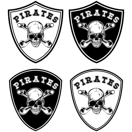 Vector illustration chevron set. Skull with crossed bones and lettering pirates Illustration