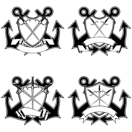 dirk: Vector illustration two crossed anchors, shield with ribbon and marine daggers.