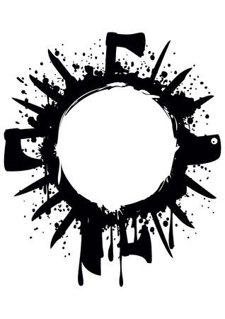hatchet: Vector illustration abstract grunge frame with knife axe hatchet