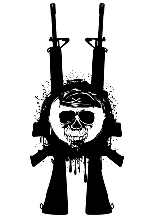 Abstract vector illustration automatic rifles and skull in beret for t-shirt design and tattoo