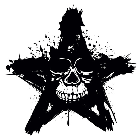 anarchism: Vector illustration grunge skull in star for tattoo or t-shirt design