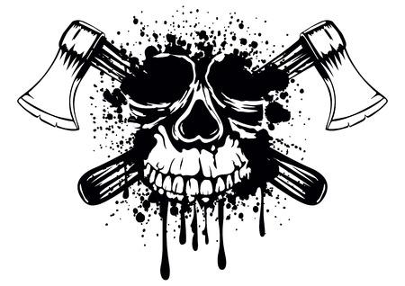 Vector illustration grunge skull with crossed axes Illustration