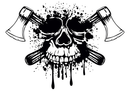 ax: Vector illustration grunge skull with crossed axes Illustration