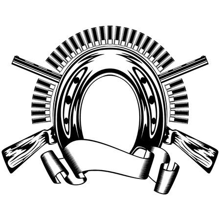 lawman: Vector illustration horseshoe and crossed shotguns Illustration