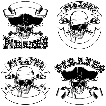 cocked: Vector illustration pirate emblem skull bandana and cocked hat and crossed bones set Illustration