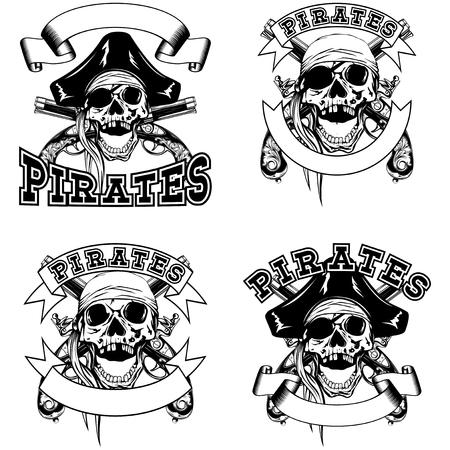 flintlock: Vector illustration pirate emblem skull bandana or cocked hat and crossed flintlock pistols set
