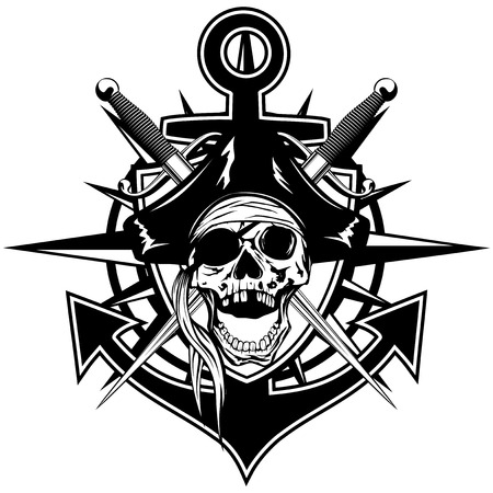 Vector illustration pirate emblem skull in cocked hat with crossed daggers and anchor Illustration