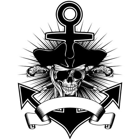 ベクトル イラスト海賊記章交差古い拳銃とアンカー コックド ハットの頭蓋骨  イラスト・ベクター素材