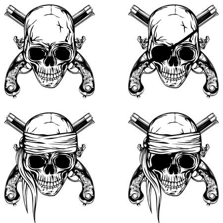 cocked hat: Vector illustration pirate skull and old pistols set. Skull with a bandage on his head and without