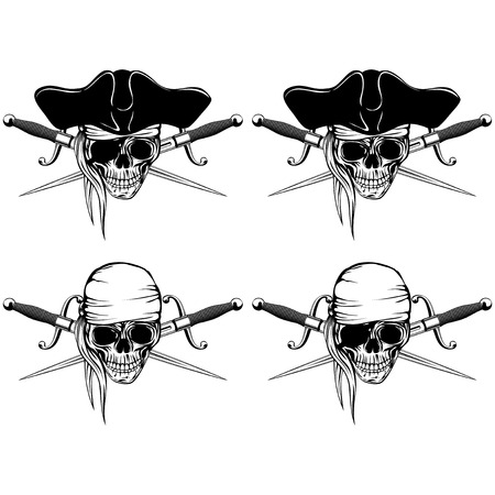 cutlass: Vector illustration pirate skull with bandana and cocked hat and crossed cutlass set Illustration