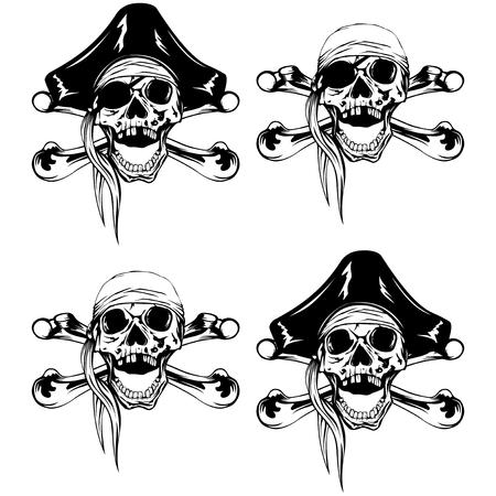 Vector illustration pirate skull bandana or cocked hat and crossed bones