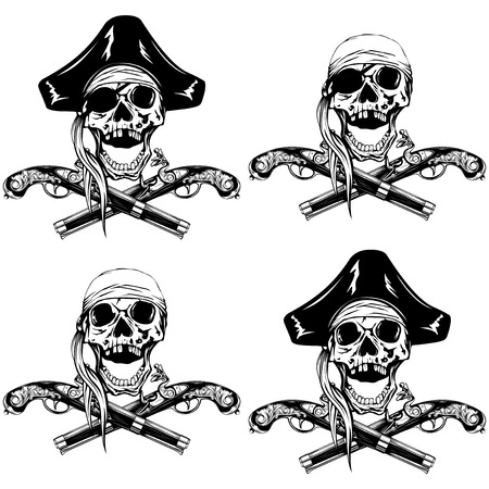 cocked hat: Vector illustration pirate skull bandana or cocked hat and crossed old pistols set