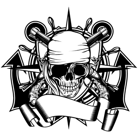 Vector illustration pirate symbol skull bandana with crossed old pistols and crossed anchors and wheel Illustration