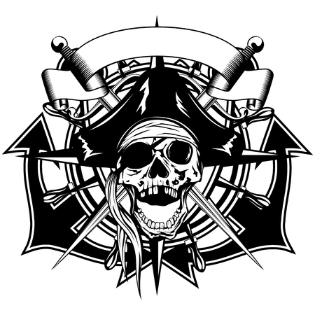 cocked hat: Vector illustration pirate symbol skull in cocked hat with crossed daggers and crossed anchors and wheel