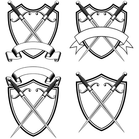 dirk: Vector illustration crossed medieval marine daggers and shield with ribbon set Illustration