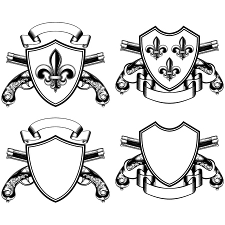 flintlock: Vector illustration shield with heraldic flower Lily (fleur-de-lys or fleur-de-lis) and crossed old flintlock pistols