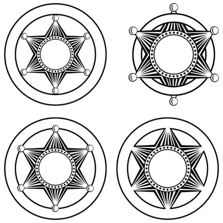 sheriffs: Vector illustration six pointed sheriffs star in circle set