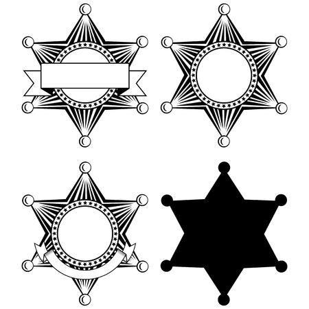 lawman: Vector illustration six pointed sheriffs star set