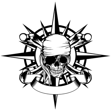 Vector illustration windrose and pirate sign skull with crossed bones Illustration