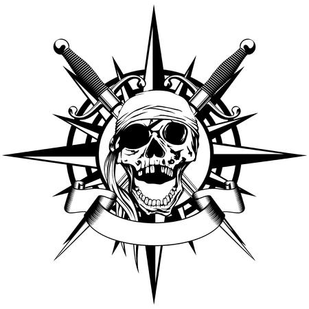 Vector illustratie windroos en piraat teken schedel met gekruiste daggers