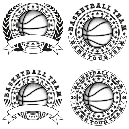 championship: Vector illustration basketball logo set