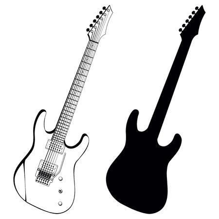 Ilustración del vector de la guitarra eléctrica y la silueta Ilustración de vector