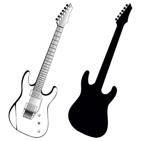 Vector illustration electric guitar and silhouette