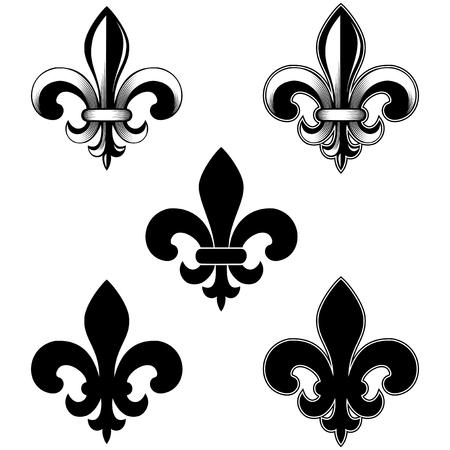 Vector illustration lily flower heraldic emblem. Royal fleur-de-lis (fleur-de-lys) symbol set.
