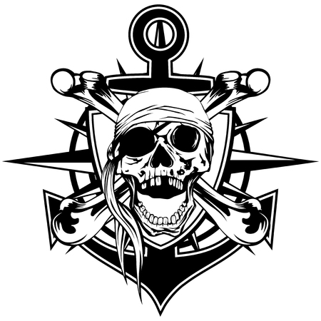 Vector illustration pirate emblem skull with bandana with crossed bones and anchor
