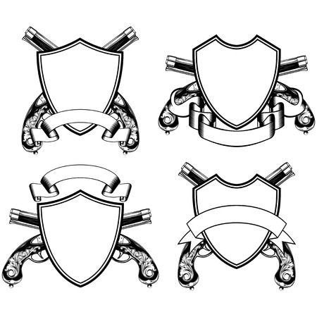 flint gun: Vector illustration crossed old flintlock pistols and shield with ribbon Illustration