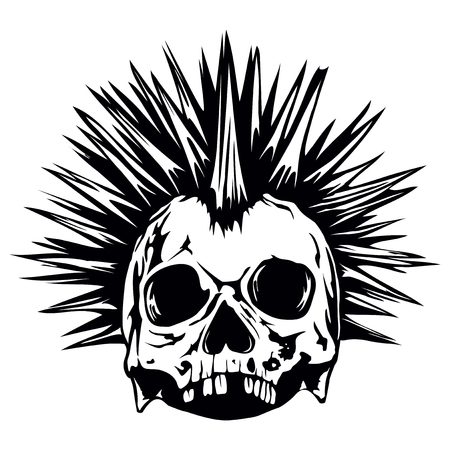 Abstract vector illustration grunge skull punk for tattoo or t-shirt design