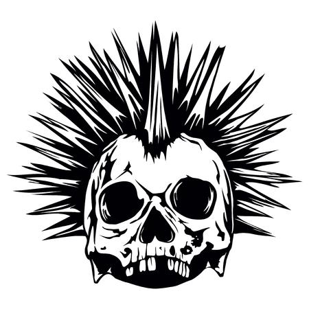 demonio: Resumen de la ilustración del vector del cráneo del grunge de punk para el diseño de tatuaje o una camiseta