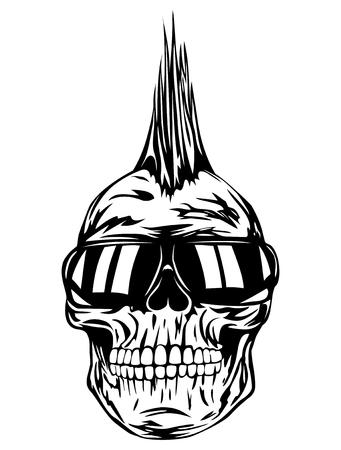 skull logo: Abstract vector illustration grunge skull punk with sunglasses for tattoo or t-shirt design