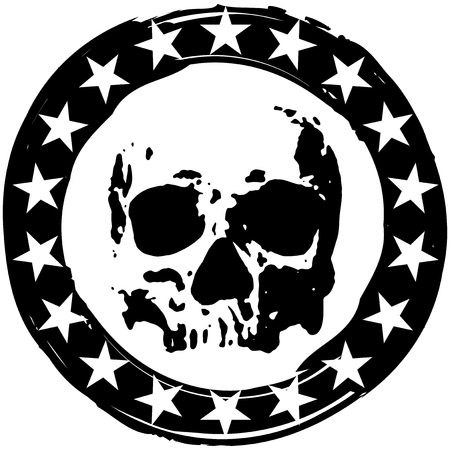 skull logo: Abstract vector illustration grunge round stamp with stars and a scary skull.