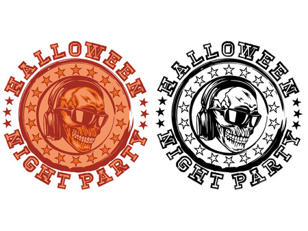 Vector illustration stamp with lettering halloween  and night party and skull with sunglasses set. Illustration