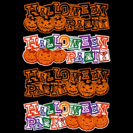 Vector colored illustration grunge lettering halloween party and jack-o-lantern pumpkins set for black background.
