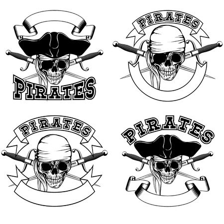 cocked hat: Vector illustration pirate emblem skull bandana and cocked hat and crossed daggers set
