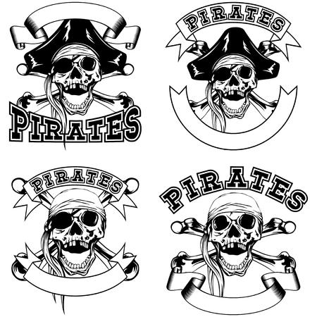 skull with crossed bones: Vector illustration pirate emblem skull bandana or cocked hat and crossed bones. Illustration
