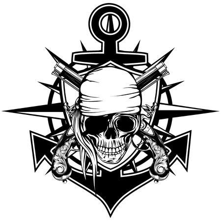 cocked hat: Vector illustration pirate emblem skull with bandana with crossed pistols and anchor Illustration